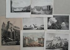 Wallonie 19e siècle 7 gravures Ath Dinant Huy Beauraing