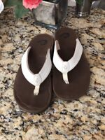 Olukai White Ivory Paniolo Vegan Leather Womens Sandals Shoes Size-7-