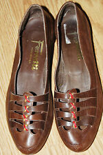 """Vintage FERRETTI brown leather red stitched low 1"""" heel pumps shoes 38 7 ITALY"""