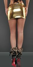 MI50 MiniGonna Aderente ORO in Tessuto Metallico Lucido WetLook PVC Latex Look