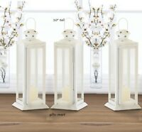 "3 WHITE country western 10"" Candle holder Lantern Lamp wedding table decoration"