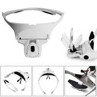 9892B1 Kopfbedeckungen Lupe austauschbar 5 Linsen Stirnband mit 2 LED Kopf Lampe