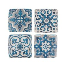 New Range Set of 4 Santorini Mosaic Ceramic Coasters,Blue & White Vintage Style