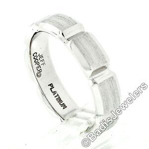 Men's Jeff Cooper Platinum 5.7mm Beveled Grooved Brushed & Polished Band Ring
