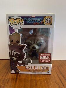 Funko Pop Vinyl #211 : Rocket with Groot - Marvel Collector Corps Exclusive