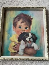 "Soulet 1960's Picture  Wooden Framed  "" Me And My Dog"" Vintage Retro"