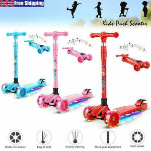 Kids Childs Kick Push Scooter LED Flashing 3/4 Wheels Adjustable Folding BoyGirl