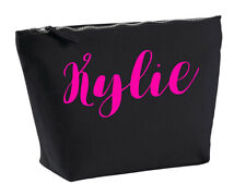 Kylie Personalised Make Up Accessory Bag In Black Colour Neon Pink Makeup