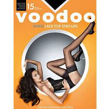Voodoo Shine Lace Top Stay Ups Black Magic 15 Denier Sexy Women Stockings Tights