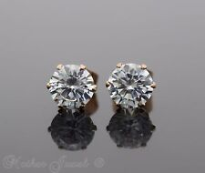 7MM ROUND SIMULATED DIAMOND 14K ROSE GOLD IP STUD MENS WOMENS GIRLS EARRINGS