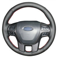 DIY Top Leather Steering Wheel Hand-stitch on Wrap Cover For Ford Ranger Everest