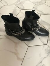 ZARA BLACK REAL LEATHER METAL CHAIN DETAIL ANKLE BOOTS SIZE UK 6 EU 39