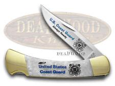 BUCK 110 Folding Hunter U S Coast Guard Custom White Pearl Corelon Pocket Knives