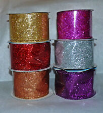 WIRE EDGE GLITTER SPARKLE RIBBON # 63MM WIDE - RED/GOLD/SILVER/FUSHIA/PURPLE