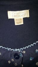 CELESTIAL DREAMS 3X 4X 26/28 NAVY BLUE LONG SL NIGHTGOWN BRAND NEW WITHOUT TAGS!