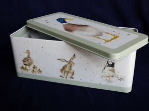 Wrendale Cracker Tin  -duck, hare, owls