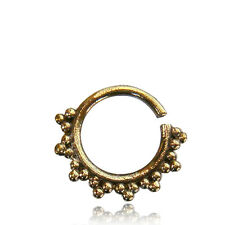 SMALL ORNATE 14G BRASS DOTS HANGING SEPTUM 9MM RING DIAMETER NOSE AFGHAN
