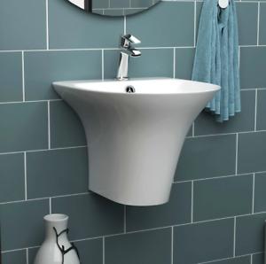 460mm Semi Pedestal Wall Hung Basin Modern Deep Sink Bathroom Wash Bowl