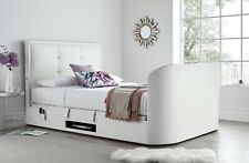 """White Leather Jetson King Size Ottoman Media TV bed Holds Up to 43"""" TV"""