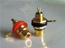 RCA Phono Gold Chassis Socket's  Red Black Pack Of 2
