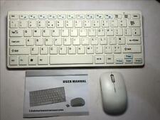 "White Wireless MINI Keyboard & Mouse for SAMSUNG UE32J4510 Smart 32"" LED TV"