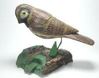 Carved Wood Bird Parakeet Handpainted Driftwood Base 7in X 9in Decoy