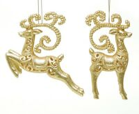 Christmas Set of 2 Gold Glitter Reindeer Tree Decorations  NEW  17144