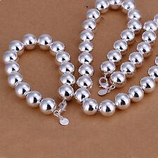 925 Sterling Silver Filled smooth  ball link Bracelet Necklace Sets S-A335