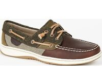 Sperry Top Sider Women's Rosefish Herringbone Green / Brown Boat Shoe Moccasins