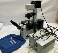 OLYMPUS IX81 FLUORESCENCE INVERTED MICROSCOPE, BROKEN EYE PIECE