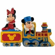 Disney's Mickey & Minnie Mouse Choo Choo Ceramic Salt and Pepper Shakers, SEALED
