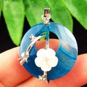 Tibetan Sliver White Shell Flower Blue Agate Round Pendant Bead D67220