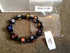 Italian Murano glass square Millafiori stretch bracelet in black