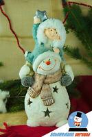Große Deko Figur Schneemann Weihnachten Winter Teelicht Weihnachtsdeko NEU Cool