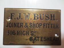 "ANTIQUE BRASS DOOR OR COFFIN PLATE"" F.J.W. BUSH"" 416 HIGH ST. CATESHEAD ENGLAND"