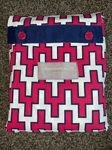 "Jonathan Adler Geometric Fabric Shower Curtain Red, White w/ Blue Trim 72x72"""