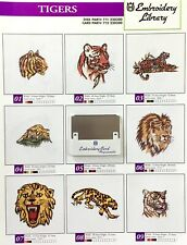 Tigers Lions Embroidery Designs Card for Husqvarna Viking  Embroidery Machines