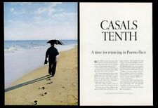 1966 Pablo Casals on beach photo Puerto Rico travel vintage print ad