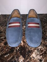 Bally Pearce Driving Shoes Slip On Loafers Men 8.5 US Blue Suede Leather $395