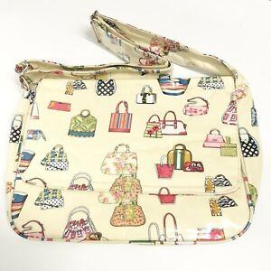 Vintage 50s Style Print Oilcloth Satchel Shoulder Bag With Handbag Pattern