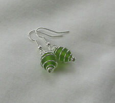 Handmade Earrings Lime Green Glass Bead ~ Silver Plated Spiral Caged Earrings