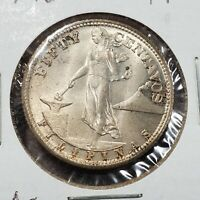 1944 S Philippines 50 Centavos Silver Coin Choice BU Uncirculated Some Toning