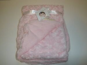 NWT Blankets & Beyond Pink Rosette Rose Swirl Faux Fur Baby Girl Blanket