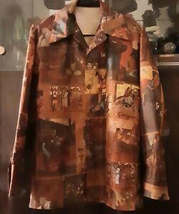 "VTG Paul GAUGUIN Fine Art Various Art Prints Silk Shirt S-M 40"""