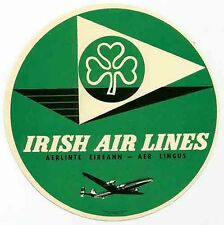 Irish Air Line  Airline  Vintage Looking   Travel Decal  Luggage Label Sticker