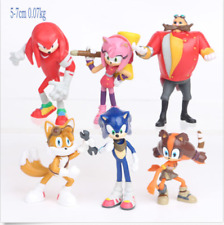 Sonic The Hedgehog 6 PCS Knuckles Tails Action Figure Kids Gift Cake Topper Toy