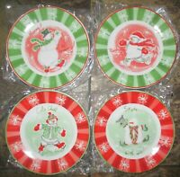 NIB 2003 Avon Snow family collection snowman 4 dessert plates Christmas holiday