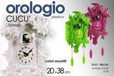 OROLOGIO A CUCU' IN PLASTICA A BATTERIA 20*38 CM COLORI ASSORTITI TLO-581335