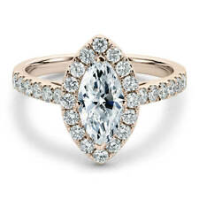 Lovely 14K Rose Gold 1 Carat Marquise Cut Moissanite with Accents Halo Ring