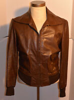 MEN'S PANCALDI BROWN LEATHER FLIGHT BOMBER JACKET! LIGHTWEIGHT! MADE IN ITALY 40